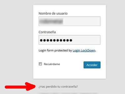 Recuperar la contraseña del administrador de wordpress link perdida de contraseña